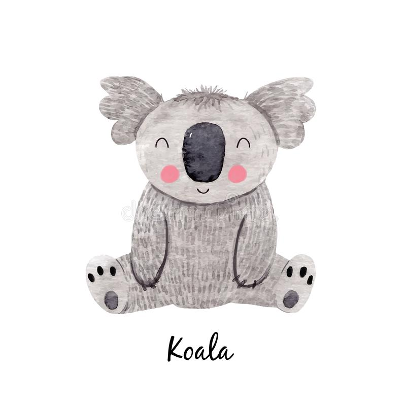 Cute vector watercolor australian baby koala bear illustration for children print royalty free illustration