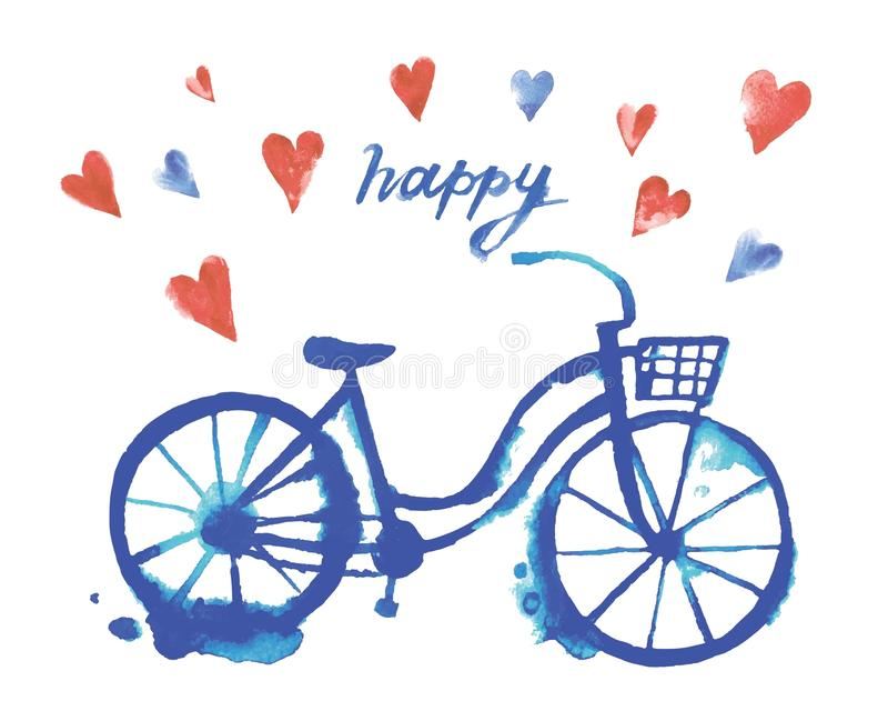 Cute vector watercolor bicycle royalty free illustration