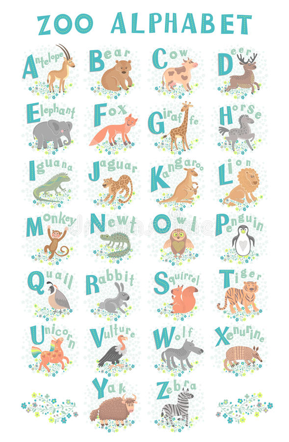 Cute vector zoo alphabet. Funny cartoon animals. Letters. Learn to read. stock illustration
