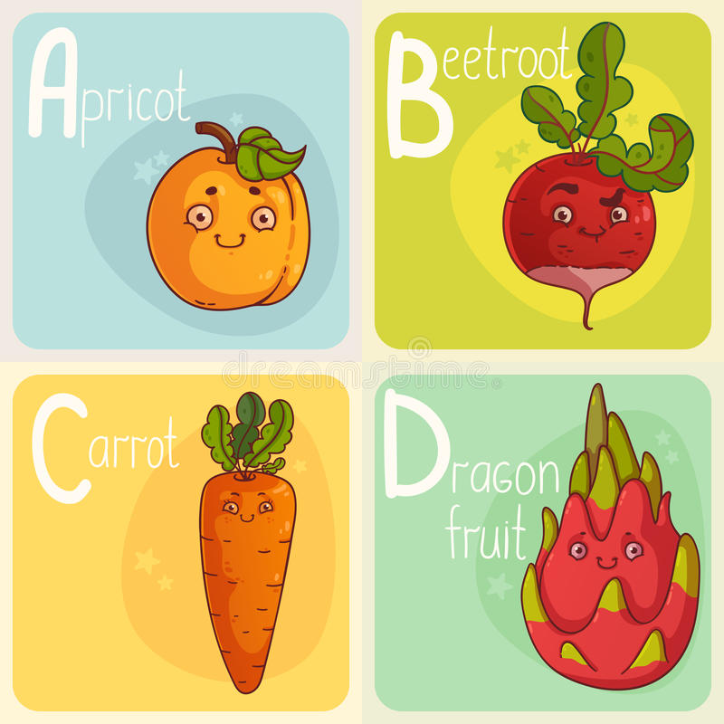 Cute Vegetable and Fruit Alphabet. Cartoon Characters. Cartoon Apricot, Beet, Carrot and Dragon fruit royalty free illustration