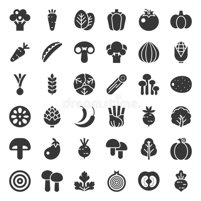 Cute vegetable vector icon set, solid style. Cute vegetable vector illustration icon set, solid style royalty free illustration