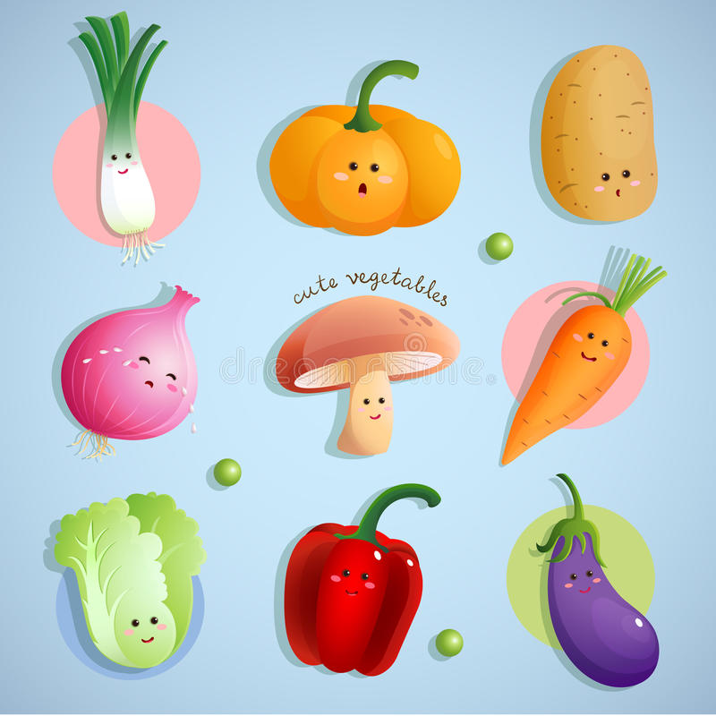 Cute vegetables characters royalty free illustration
