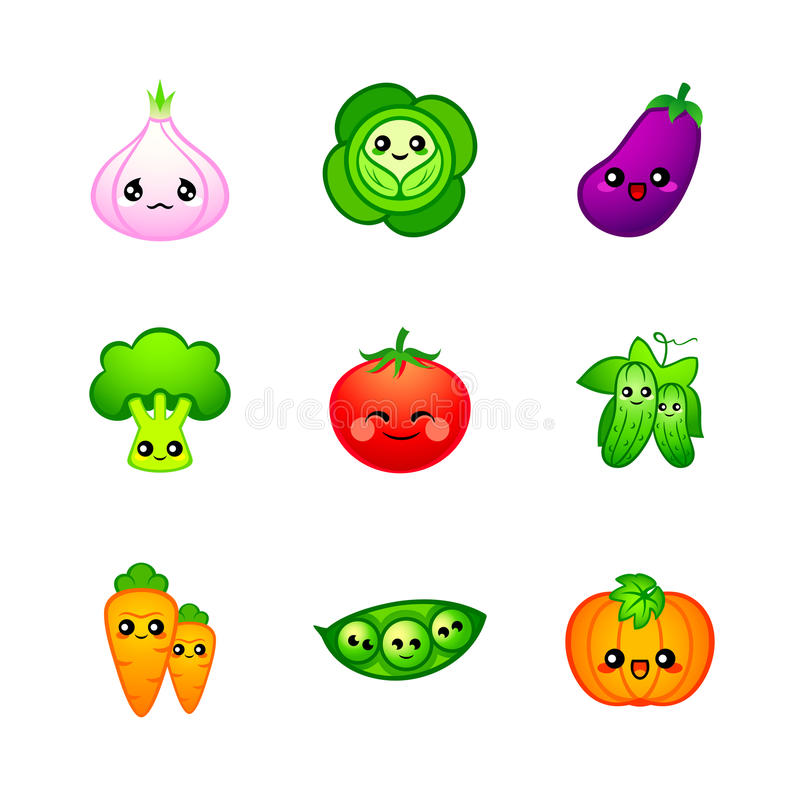 Cute vegetables vector illustration