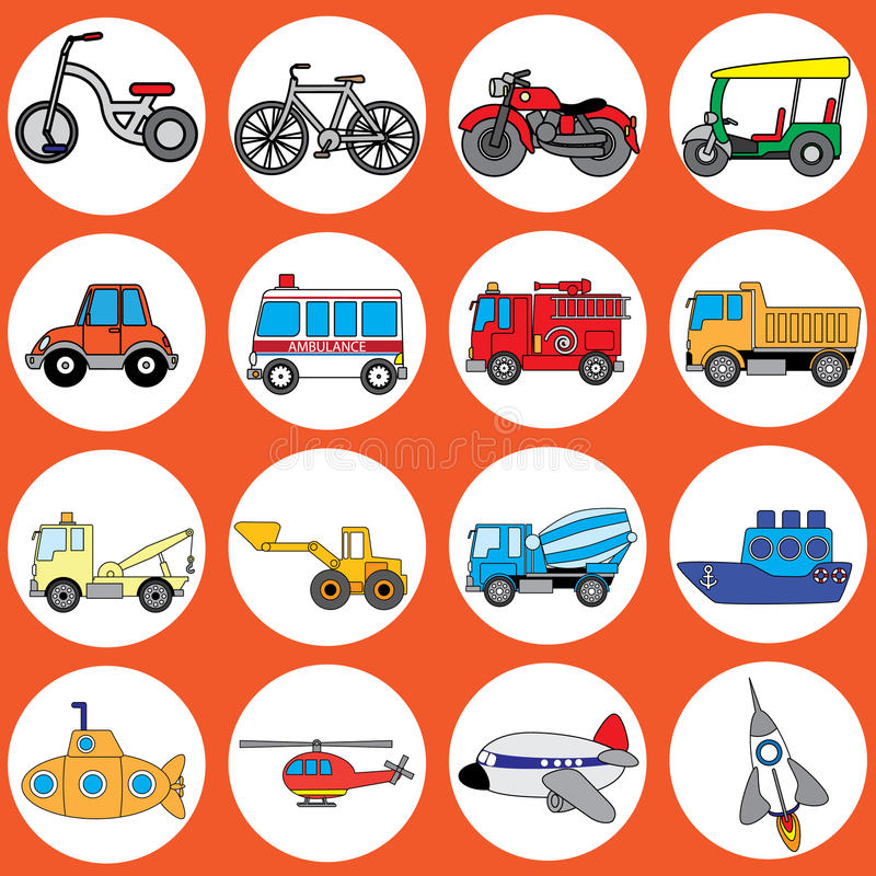 Cute vehicle types. In the circle. In vector style royalty free illustration