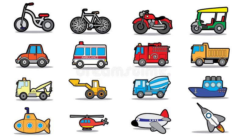 Cute vehicle types in sticker style on square graphic. Background. In vector format royalty free illustration