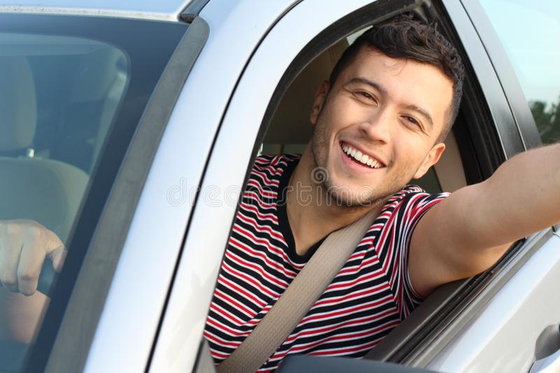 Cute very young driver taking a selfie royalty free stock photos