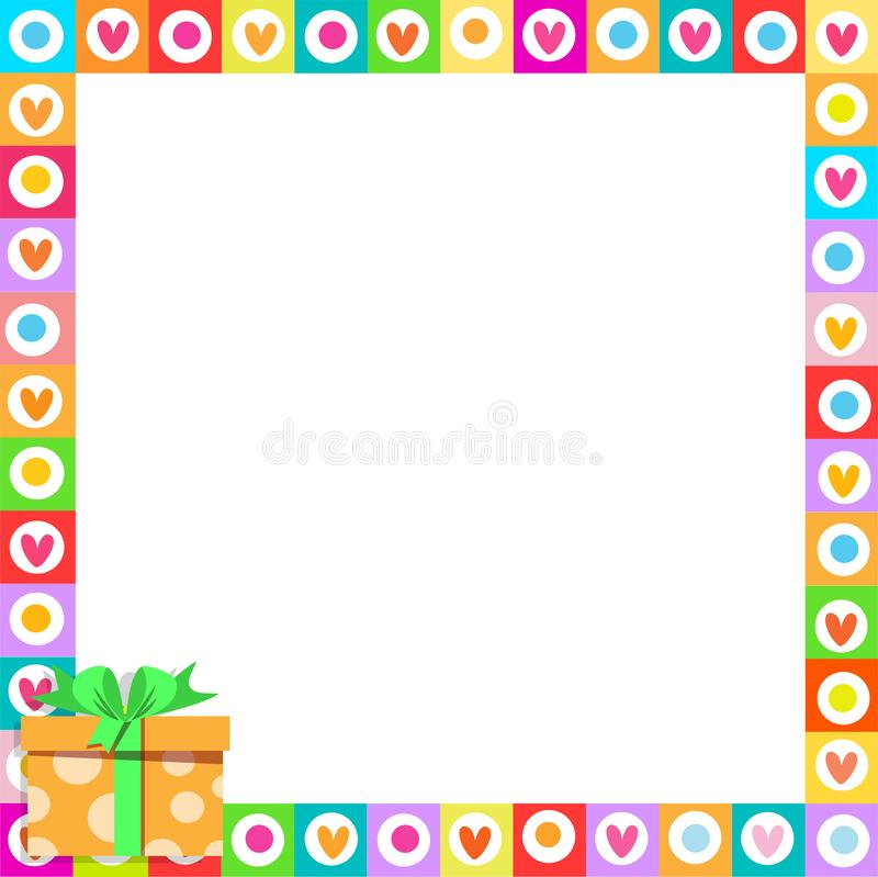 Cute vibrant hearts phot frame with colorful orange present in corner. Cute vibrant border photo frame made of doodle hearts with orange gift box with ribbon in stock illustration