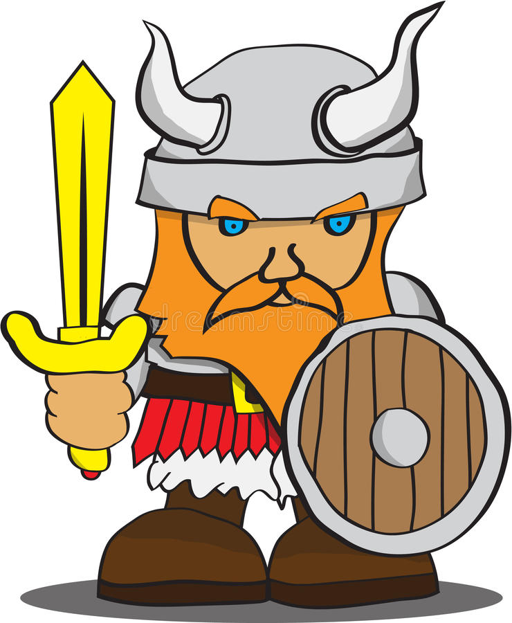 Cute Viking. A small cute Viking with sword and shield vector illustration