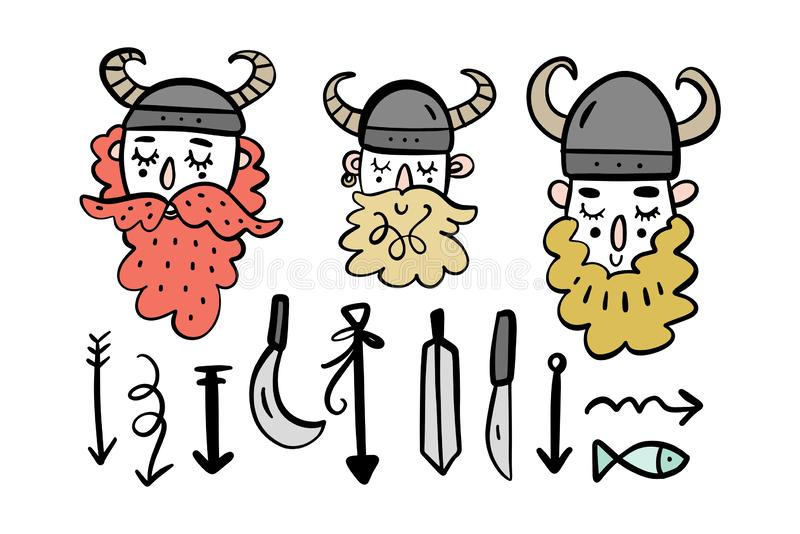 Cute vikings cartoon characters set, scandinavian style. Vector illustrations royalty free illustration