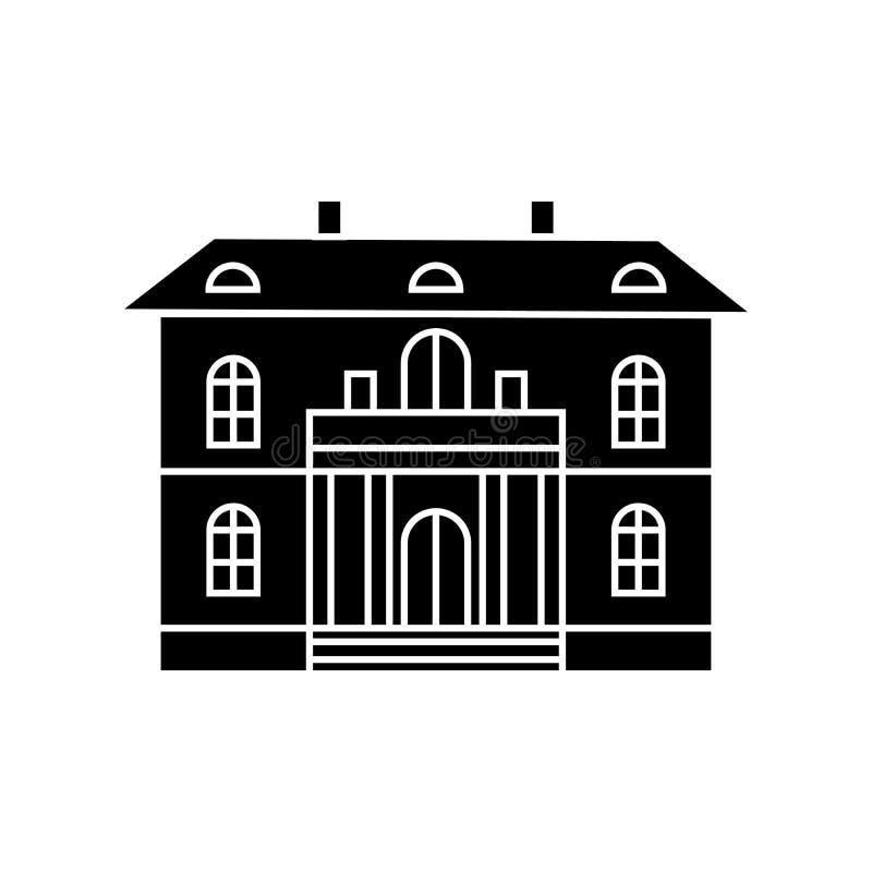 Cute villa black icon concept. Cute villa vector sign, symbol, illustration. stock illustration
