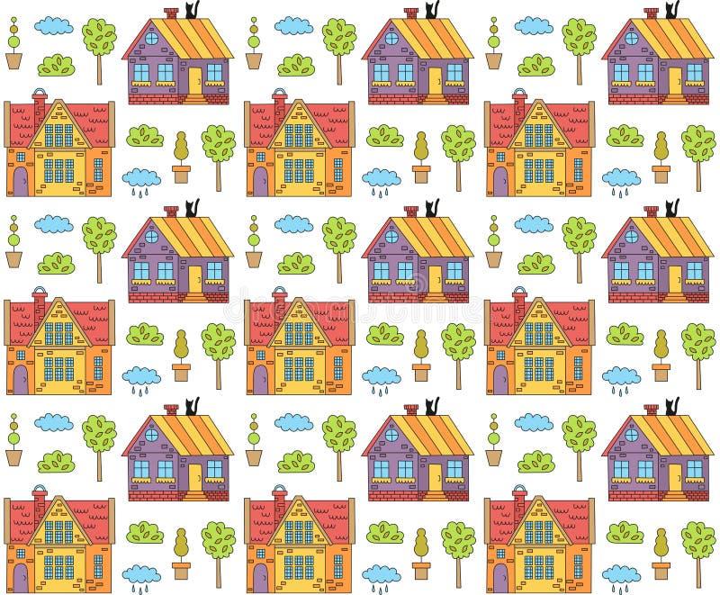Cute village houses doodles vector pattern vector illustration