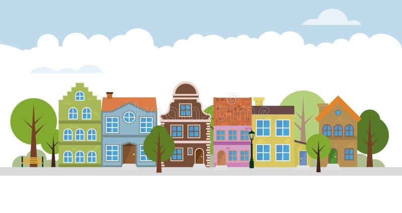 Cute village neigborhood royalty free illustration