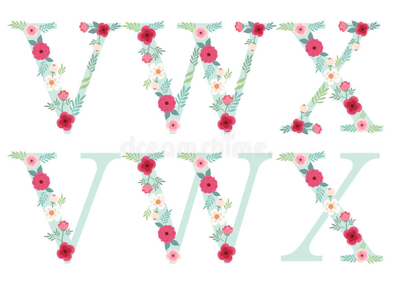 Download Cute Vintage Alphabet Letters With Hand Drawn Rustic Flowers Stock Vector