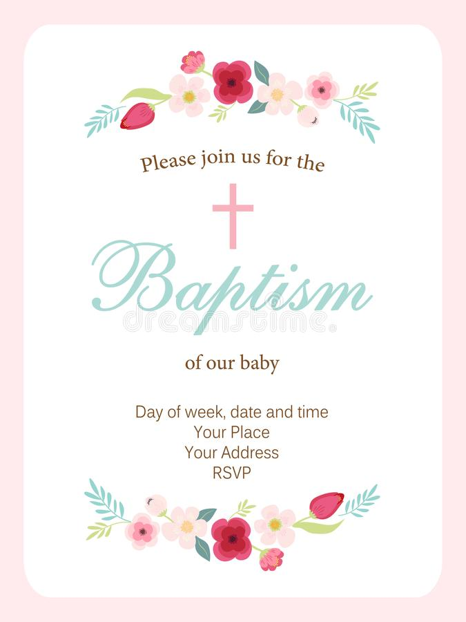Cute vintage Baptism invitation card with hand drawn flowers royalty free illustration