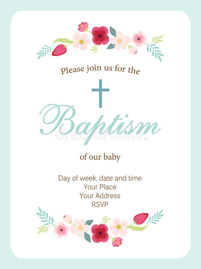 Cute vintage Baptism invitation card with hand drawn flowers stock illustration