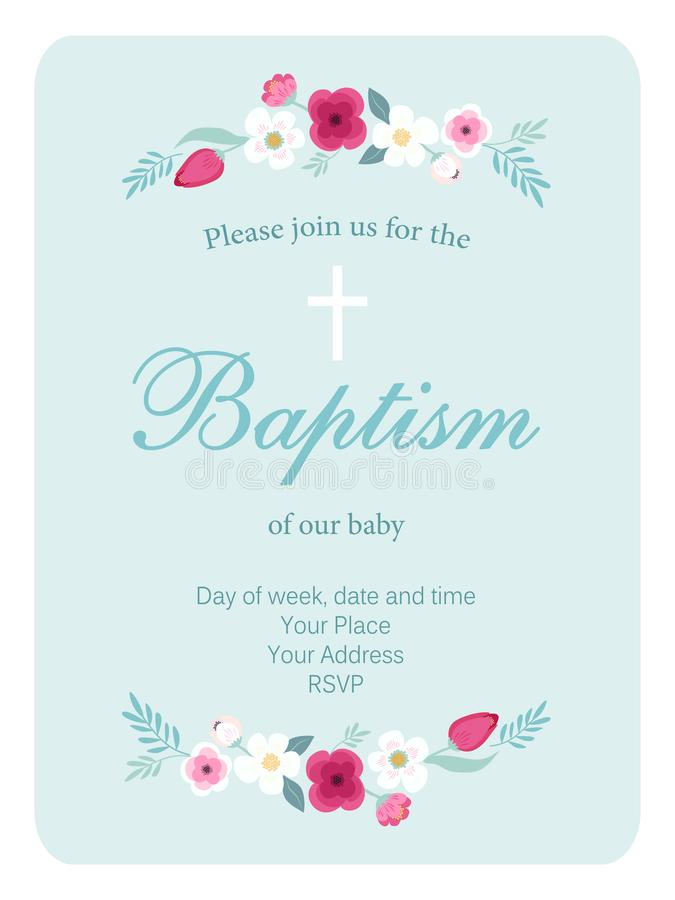 Cute vintage Baptism invitation card with hand drawn flowers. For your decoration vector illustration