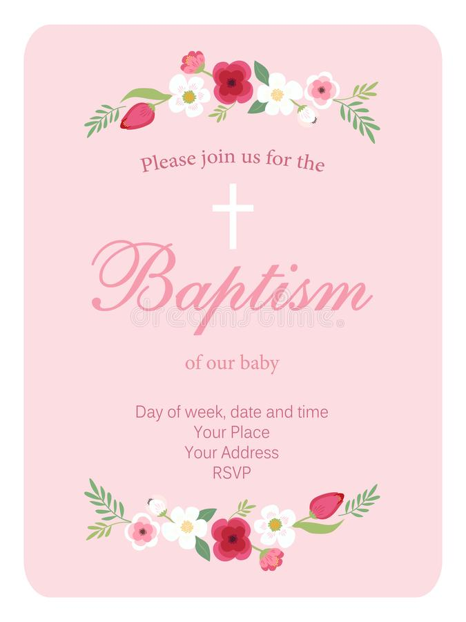 Cute vintage Baptism invitation card with hand drawn flowers vector illustration