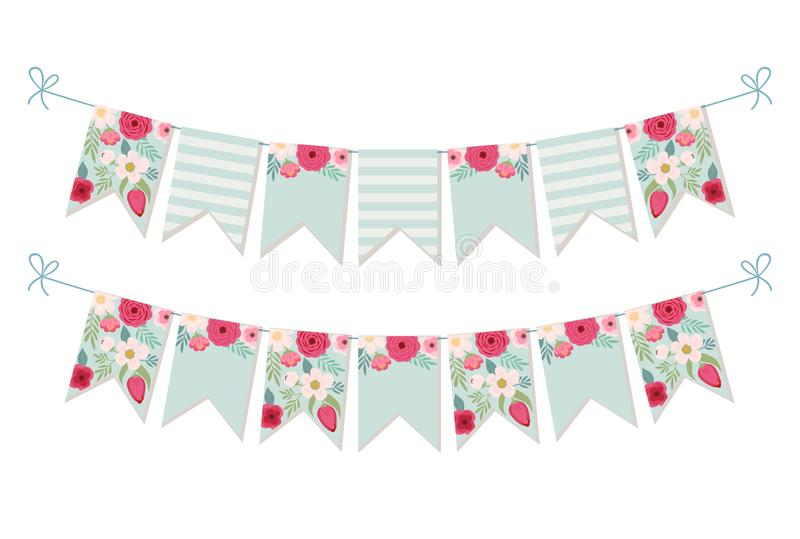 Cute vintage botanical textile bunting flags. Ideal for baby shower, wedding, birthday, bridal shower, retro party decoration etc royalty free illustration