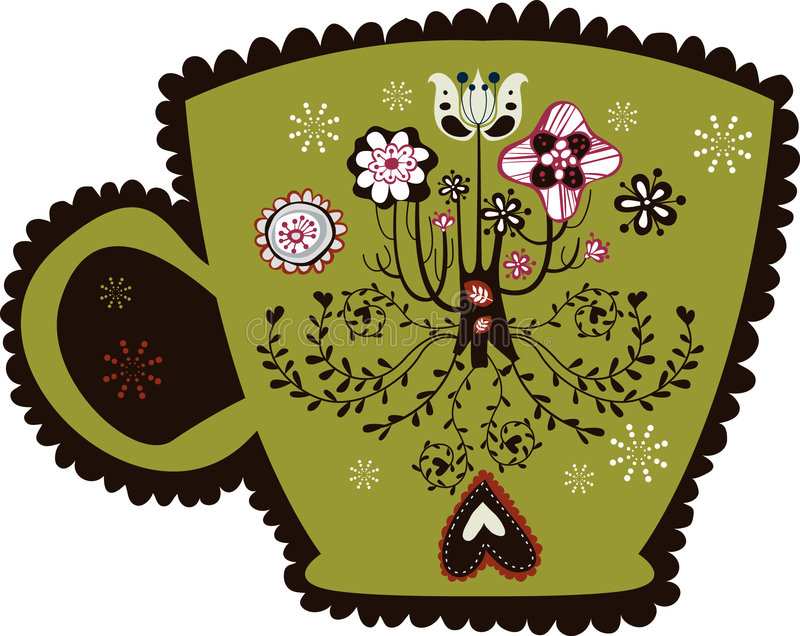 Download Cute vintage cup design stock vector. Image of brown, vector - 9013412