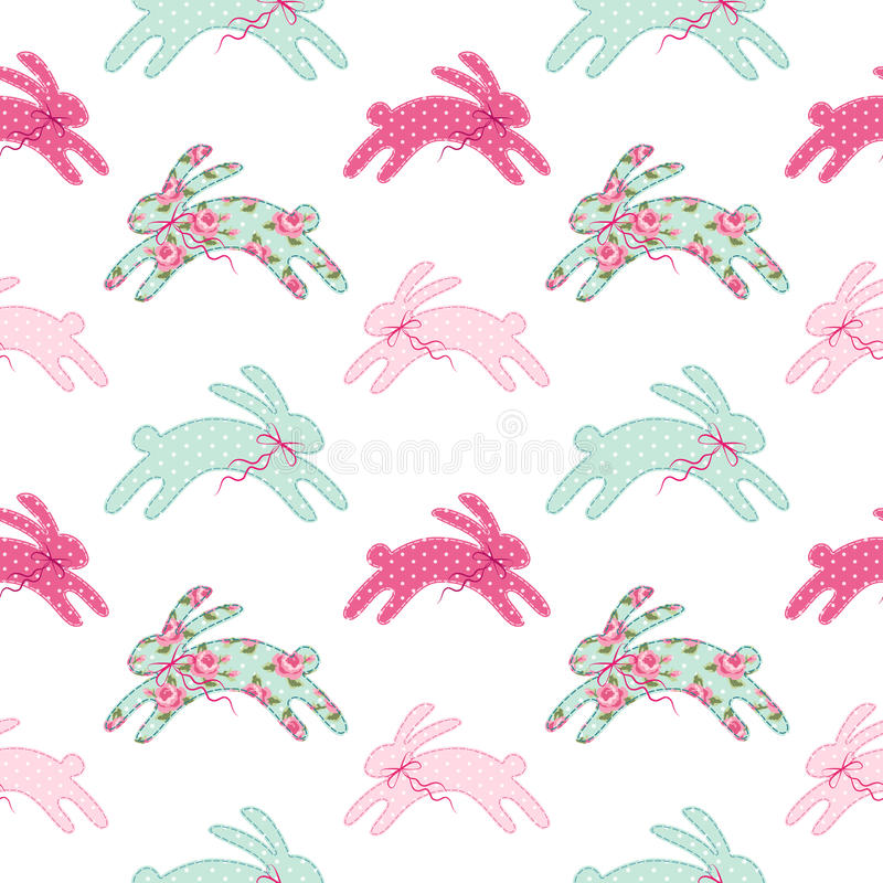 Cute vintage Easter seamless pattern with bunnies as retro fabric patch applique in shabby chic style vector illustration