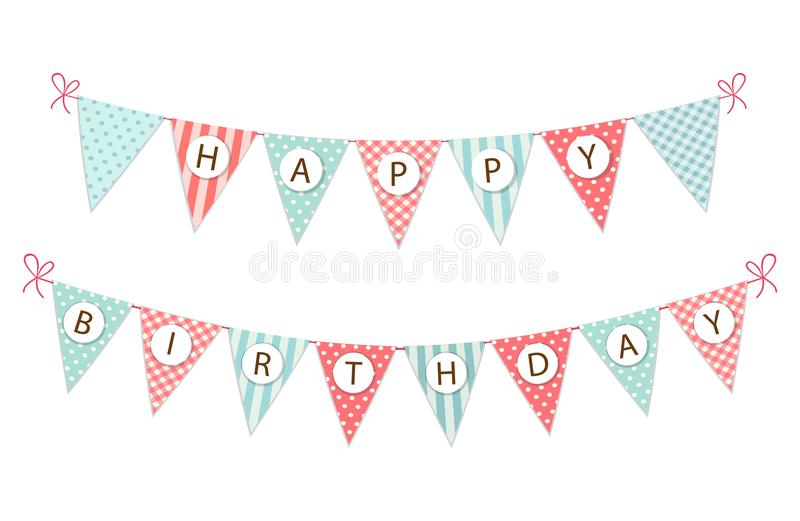 Cute vintage festive fabric pennant banner as bunting flags with letters Happy Birthday in shabby chic style stock illustration