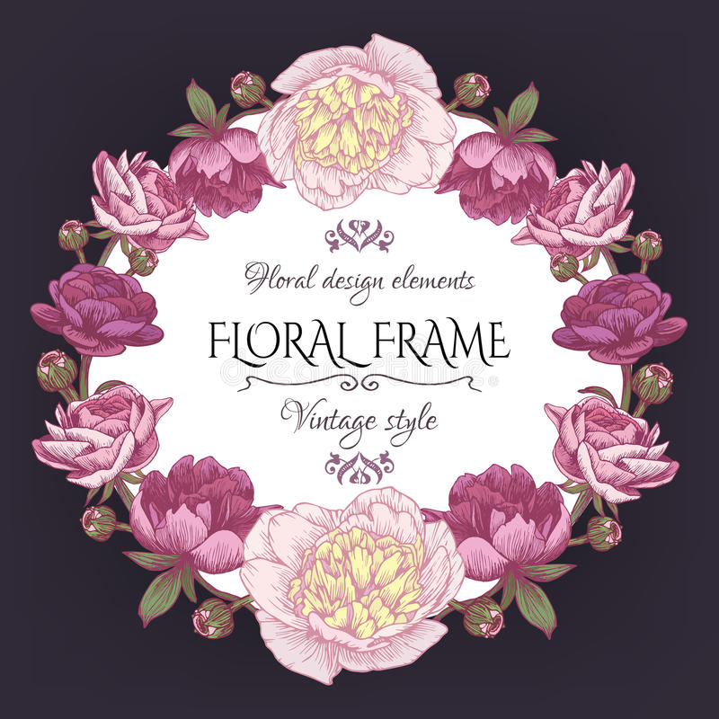 Download Cute Vintage Floral Card With A Frame Of Peonies And Persian Buttercup Beautiful Wreath