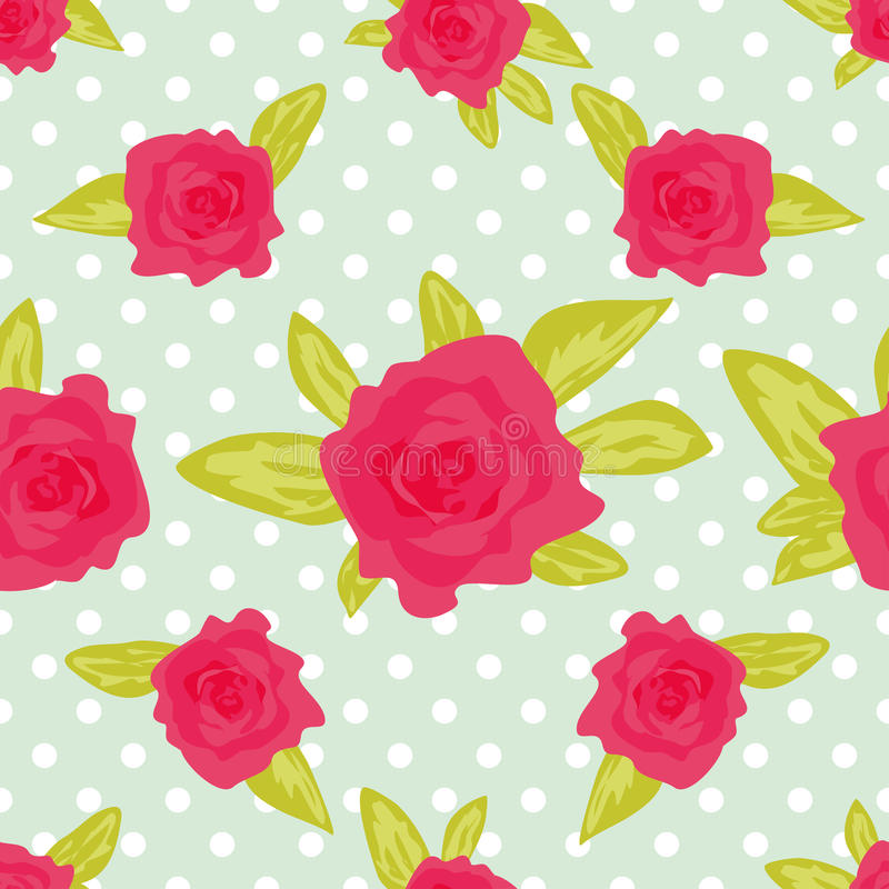 Cute vintage floral pattern. Ornament with painted flowers. Romantic background with large roses on a white background with green royalty free illustration
