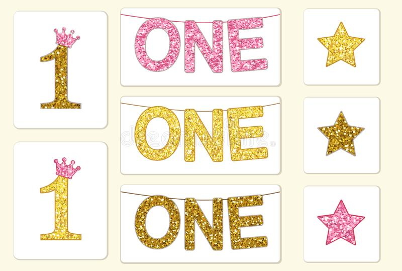 Cute vintage golden glitter number one with crown and bunting with word ONE stock illustration