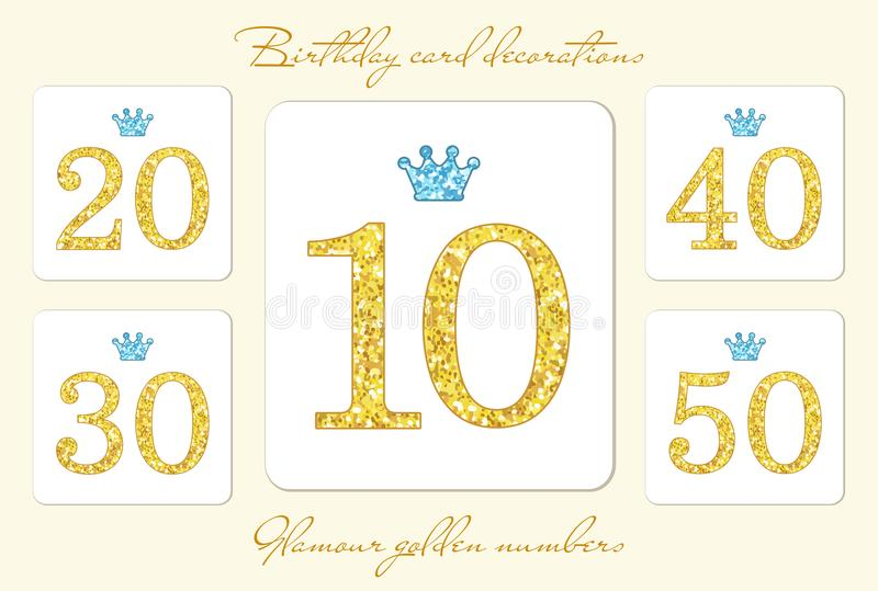 Cute vintage golden glitter numbers with crown vector illustration