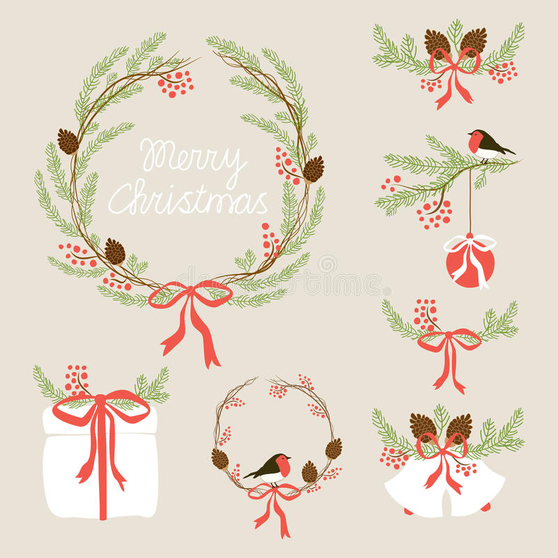 Cute Vintage Hand Drawn Christmas Holiday Floral Wreath collection vector illustration