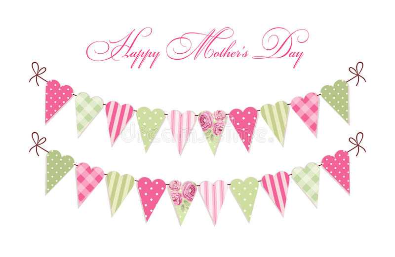 Cute vintage Happy Mother`s Day card as heart shaped shabby chic textile bunting flags. For your decoration royalty free illustration