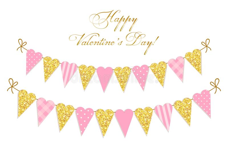 Cute vintage heart shaped glitter and shabby chic style bunting flags ideal for Valentines Day etc. Cute vintage heart shaped glitter and shabby chic style stock illustration