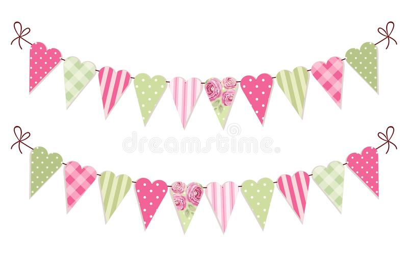 Cute vintage heart shaped shabby chic textile bunting flags. Ideal for Valentines Day, wedding, birthday, bridal shower, baby shower, retro party decoration etc royalty free illustration