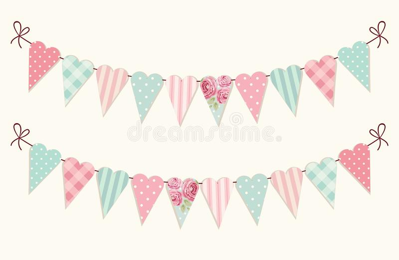 Cute vintage heart shaped shabby chic textile bunting flags. Ideal for Valentines Day, wedding, birthday, bridal shower, baby shower, retro party decoration etc vector illustration