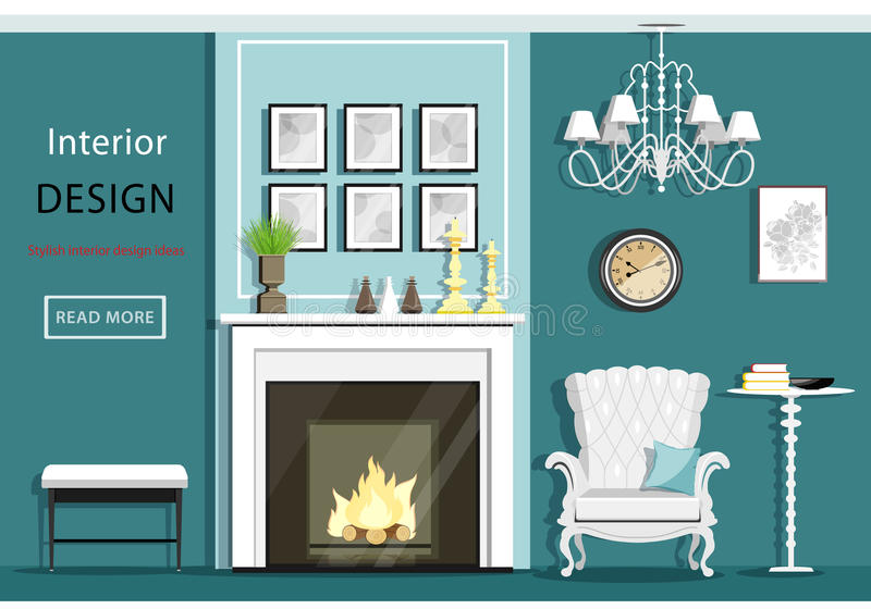 Cute vintage living room interior with furniture: cozy armchair, fireplace, chandelier, table. Flat style. royalty free illustration
