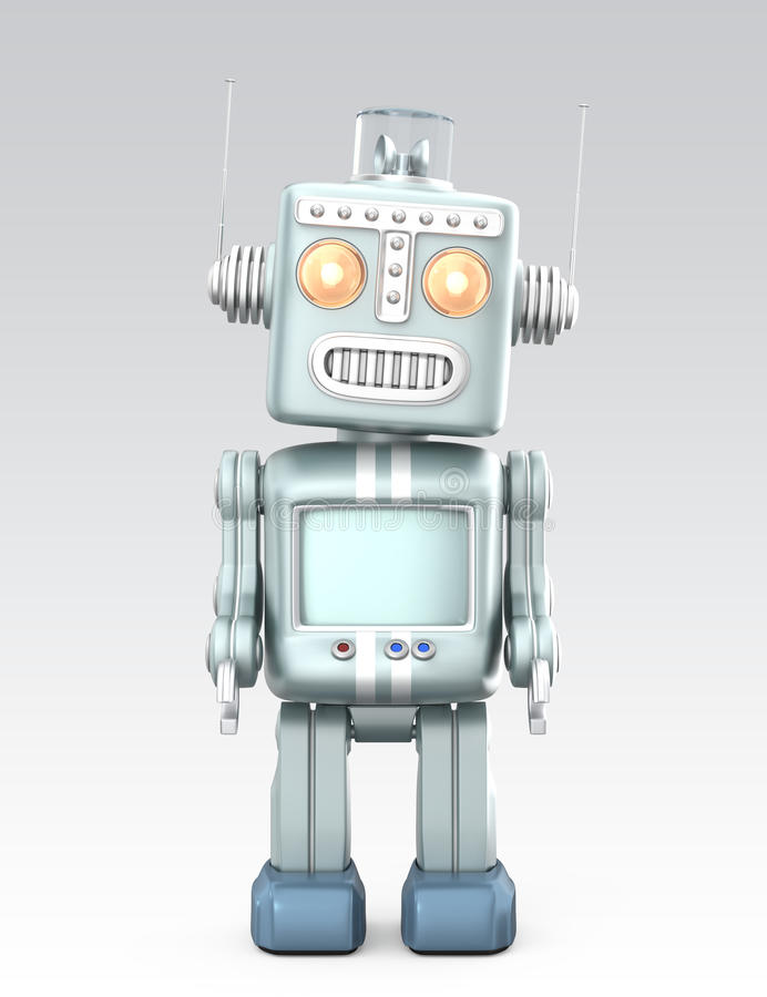 Cute vintage robot isolated on gray background royalty free illustration