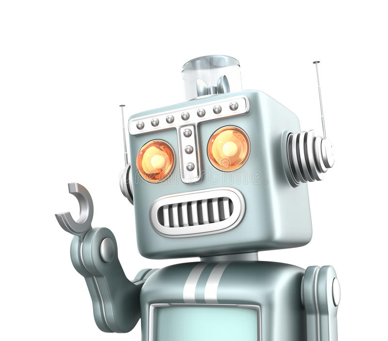 Cute vintage robot isolated on white background vector illustration