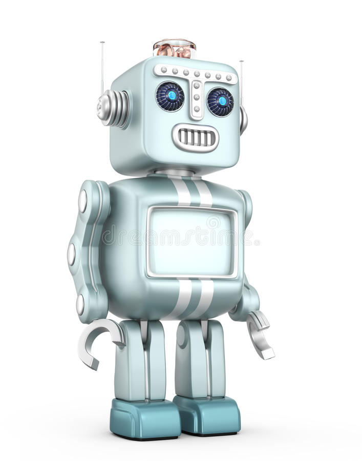 Cute vintage robot isolated on white background royalty free illustration