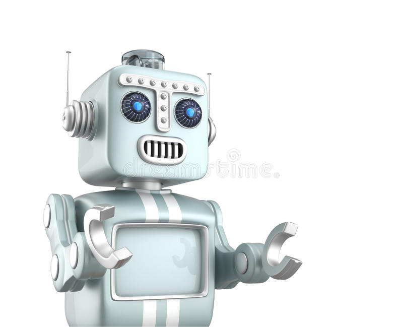 Cute vintage robot raising hands and look forward with hope vector illustration