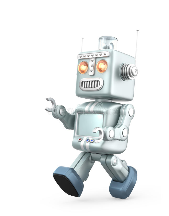 Cute vintage robot running. Isolated on white background vector illustration