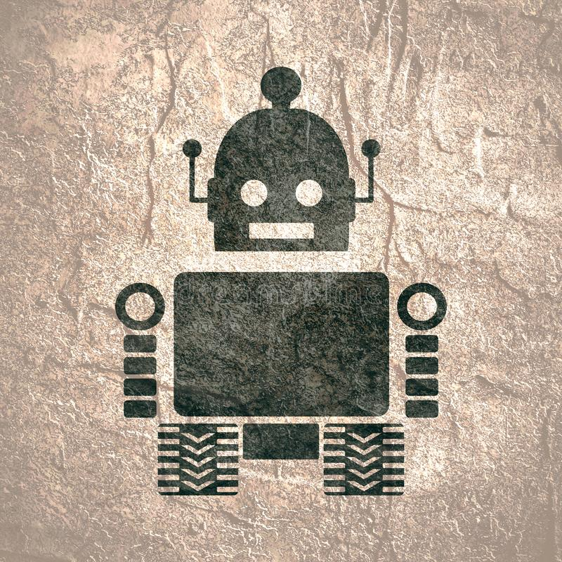 Cute vintage robot silhouette stock photos