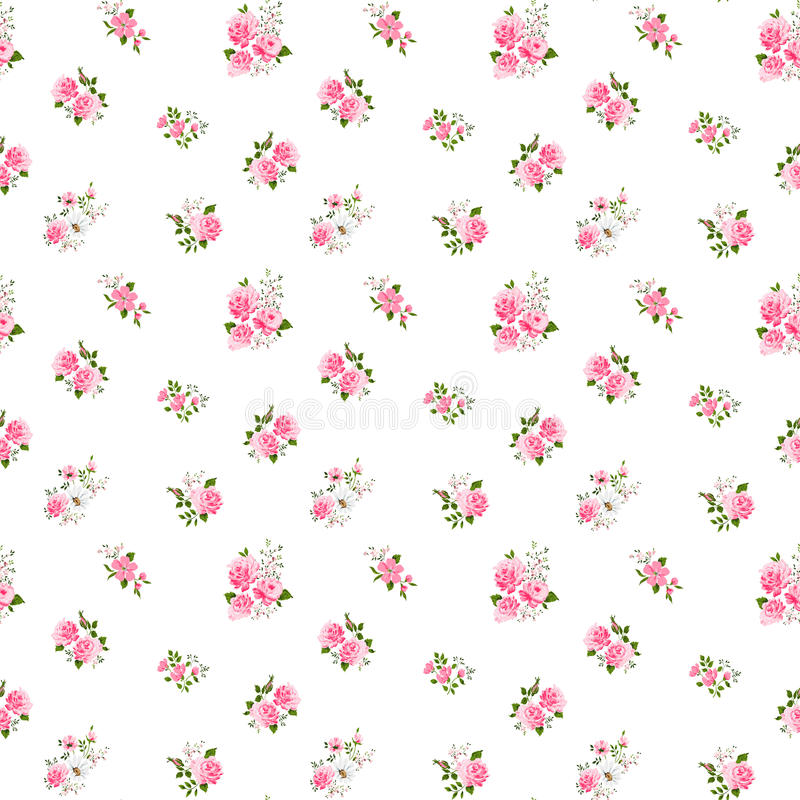Free Cute Vintage Rose Pattern. Vector Illustration Royalty Free Stock Photography - 49162697