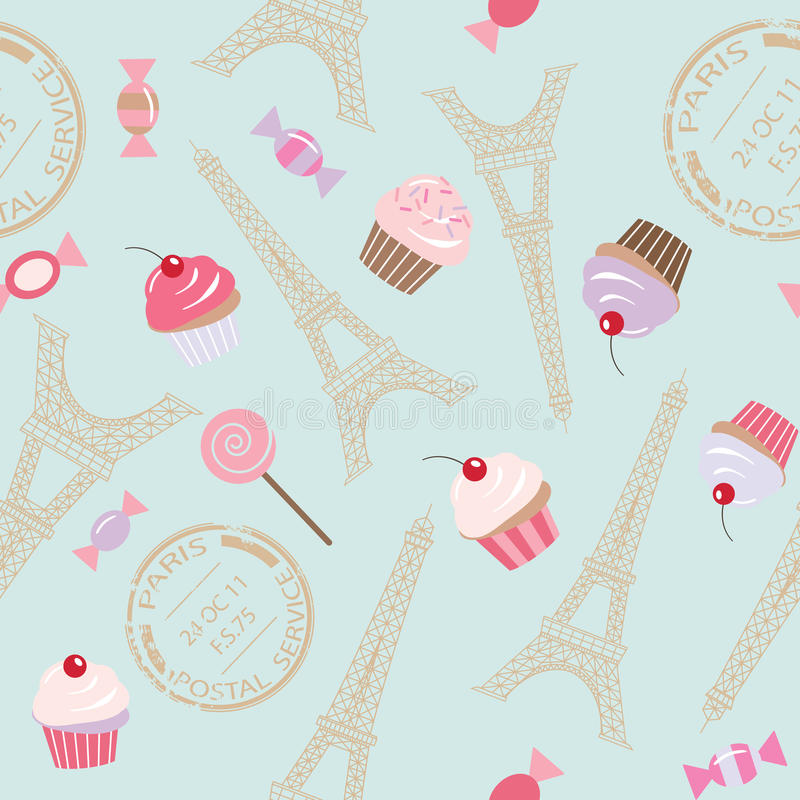 Download Cute Vintage Seamless Pattern Background With Eiffel Tower And Cupcakes Stock Illustration