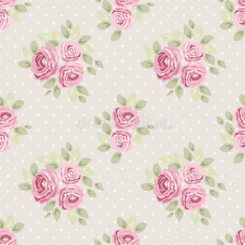 Cute vintage seamless shabby chic floral patterns for your decoration stock illustration