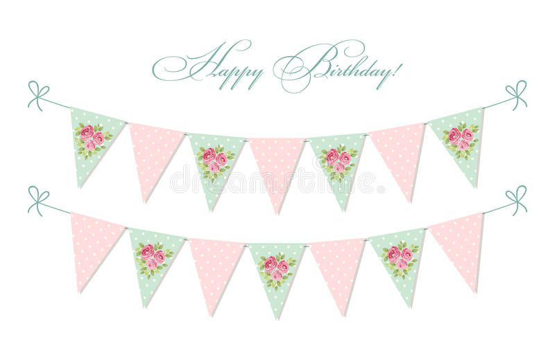 Cute vintage shabby chic textile bunting flags ideal for baby shower, wedding, birthday. Bridal shower, retro party decoration etc royalty free illustration