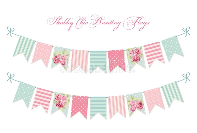 Cute vintage shabby chic textile bunting flags. Ideal for wedding, birthday, bridal shower, baby shower, retro party decoration etc royalty free illustration
