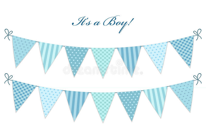 Cute vintage textile blue shabby chic bunting flags. For boy`s baby shower royalty free illustration