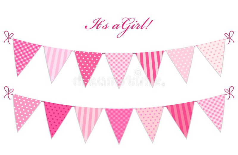 Cute vintage textile blue shabby chic bunting flags. For girl`s baby shower stock illustration
