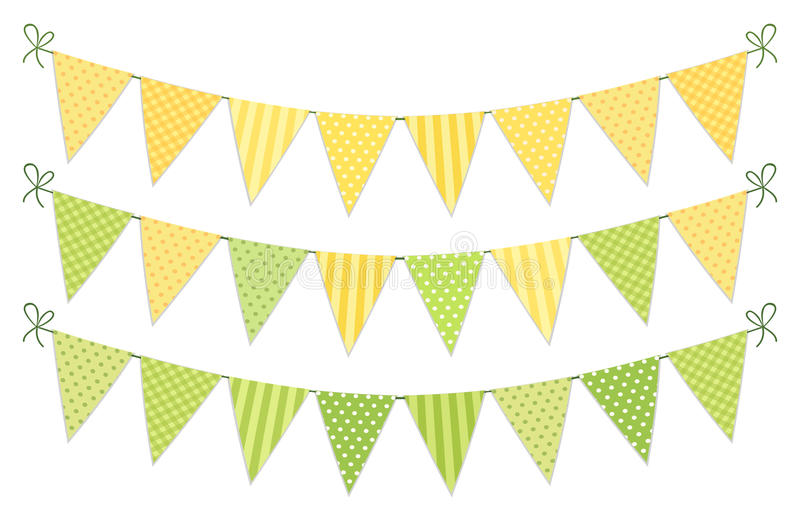 Cute vintage textile green and yellow shabby chic bunting flags for summer festivals, birthday, baby shower. Lemonade play stand etc stock illustration