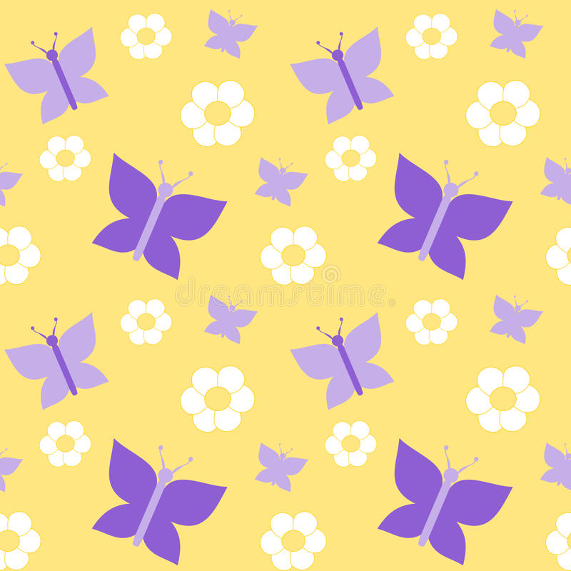 Cute Violet Butterfly On Yellow Background Seamless